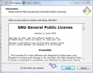 مرحله اول نصب Git
