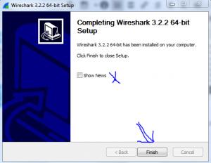 مرحله آخر نصب Wireshark