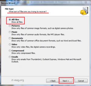 انتخاب نوع فایل ها برای بازگردانی