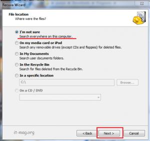 انتخاب محدوده برای بازگردانی فایل ها